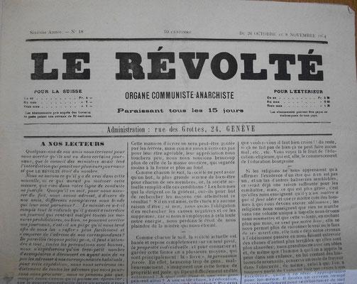 Un exemplaire du Révolté reçu à la prison de Chalon/Saône par Charles Lauvernier en oct 1884 - source : A.D. de Macon