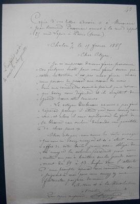 Copie de la lettre de Claude martin à son avocat - février 1885 - source : A.D. de Macon