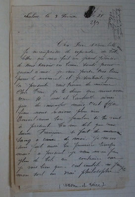 L'original de la lettre de Claude Martin à son frère saisie par le juge, janvier 1885 - source : A.D. de Macon