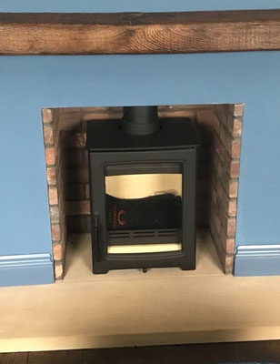Brick Edged fireplace chamber in Furness Grey Brown