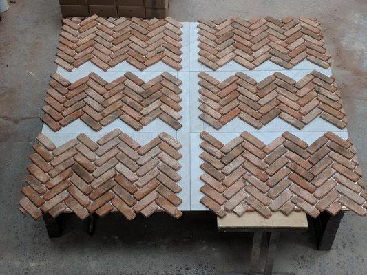 Bespoke 6-piece back panel in Retro Barn Stock, Herringbone pattern_2