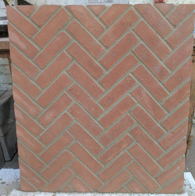 Durham Red Multi back panel in Herringbone pattern_pre-install