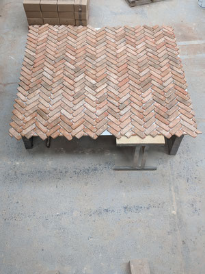 Bespoke 6-piece back panel in Retro Barn Stock, Herringbone pattern_1