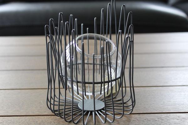T-lichthouder metaal/glas - € 13 - art. TLICHTMET
