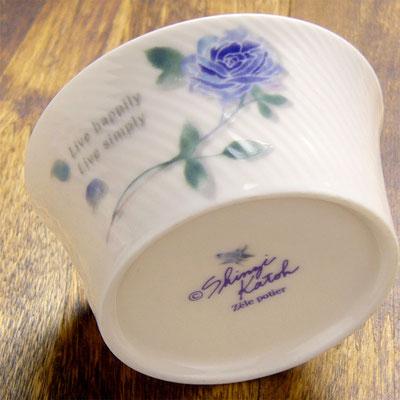 Shinzi katoh シンジカトウ おしゃれなブルーローズのイラスト 陶器のカップ ココット デザートカップ ROSE-202