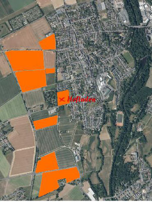 Blick auf Lendersdorf von Oben. Markiert ist unser Hof und unsere Felder.