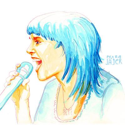 Porträt von ZaZ Tinten-Aquarell von Petra Jäger Illustration