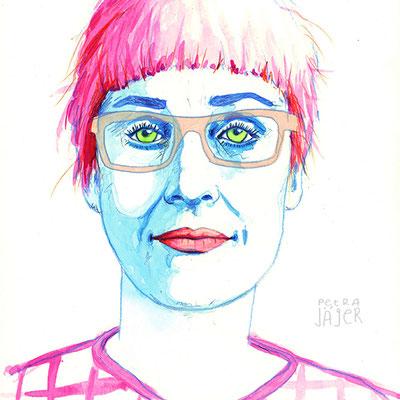 Porträt Pippilotti Rist Tinten-Aquarell von Petra Jäger Illustration