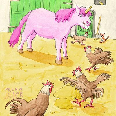 Mit und ohne Kauen sich die Wampe vollhauen - Buch übers Essen: Einhorn und Hühner auf Bauernhof