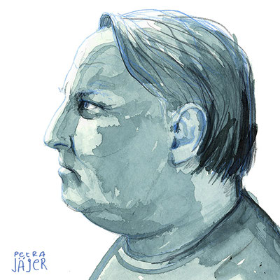 Porträt von Axel Prahl Tinten-Aquarell von Petra Jäger Illustration