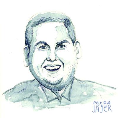 Porträt von Jonah Hill Tinten-Aquarell von Petra Jäger Illustration