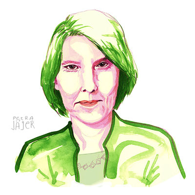 Portät von Bettina Böttinger Tinten-Aquarell von Petra Jäger Illustration