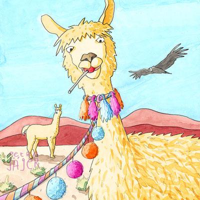 Mit und ohne Kauen sich die Wampe vollhauen - Buch übers Essen: Lama mit Lolli in karger Landschaft