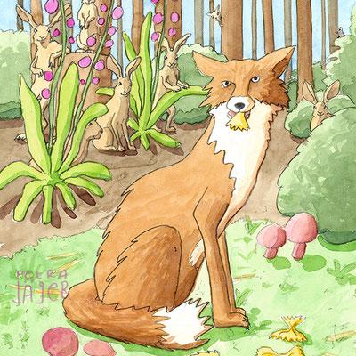 Mit und ohne Kauen sich die Wampe vollhauen - Buch übers Essen: Fuchs und Hasen in Waldszenerie