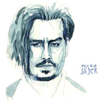 Porträt von Johnny Depp Tinten-Aquarell von Petra Jäger Illustration