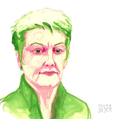 Porträt von Renate Künast Tinten-Aquarell von Petra Jäger Illustration