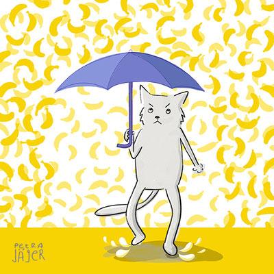 Cartoon Peters Bananen Katze im Bananen-Regen mit Schirm