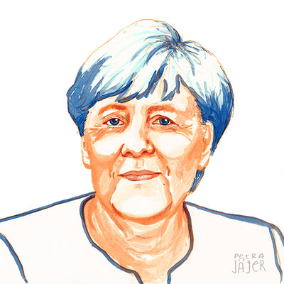 Porträt von Angela Merkel Tinten-Aquarell von Petra Jäger Illustration