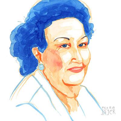Porträt von Montserrat Caballé Tinten-Aquarell von Petra Jäger Illustration