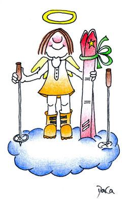 Geschenkanhänger Engel Ski