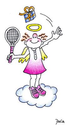 Geschenkanhänger Engel Tennis