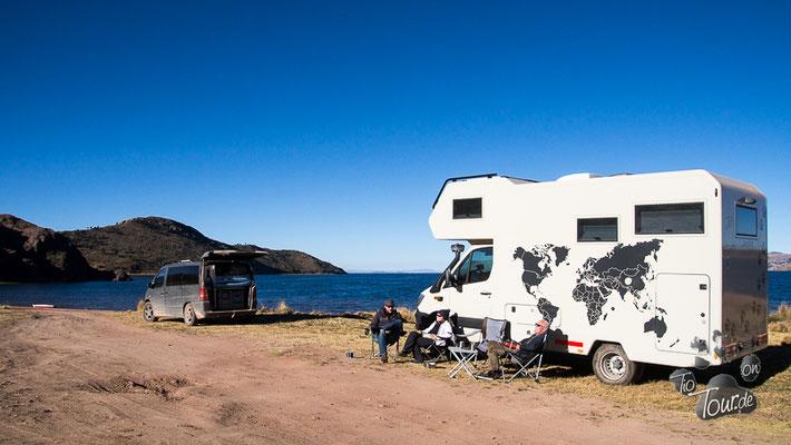 Erster Stellplatz in Peru - am Titicaca-See - mit Melli und Ronny