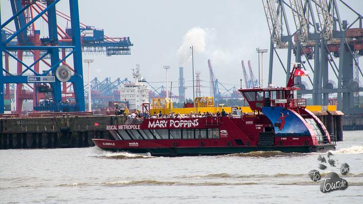 Blick von Övelgönne auf die Hafenanlagen
