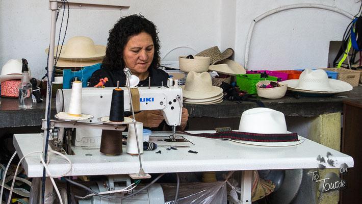 Panamahut-Museum, die Hutbänder können beliebig ausgetauscht werden