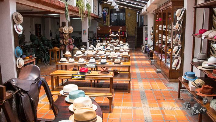 Panamahut-Museum - eine große Auswahl an Hüten in allen Größen