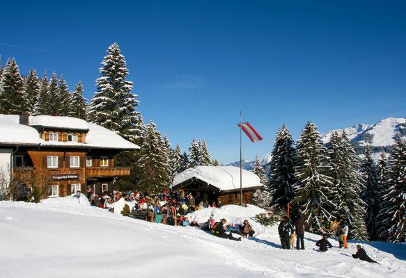 Berggasthof Bühlalpe im Kleinwalsertal, Winter