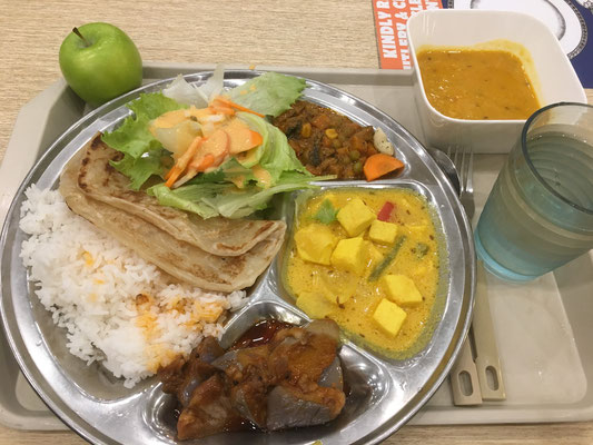 indian meal in the dining hall