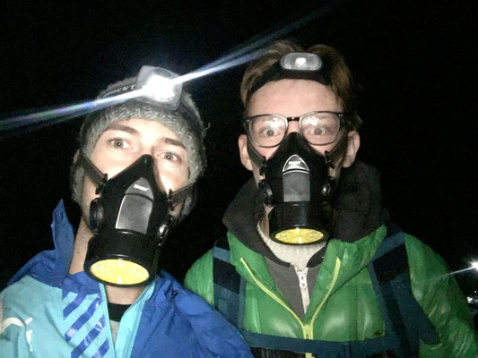 gas masks because of the sulfur gas