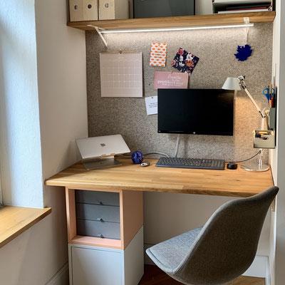 Neugestaltung eines Home-Offices in einer schmalen Nische