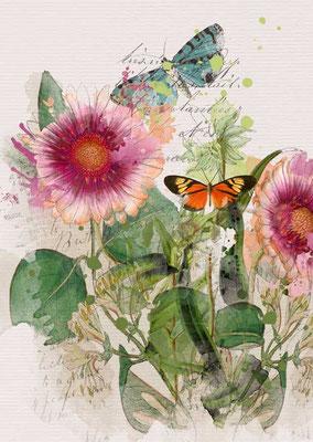 Postkarte von Aquarell mit Blumenmotiv auf weißem Grund, Zu erwerben auf der Aachener Kunstroute 2015 am 25. 26. und 27. September in der Galerie Frutti dell'Arte.