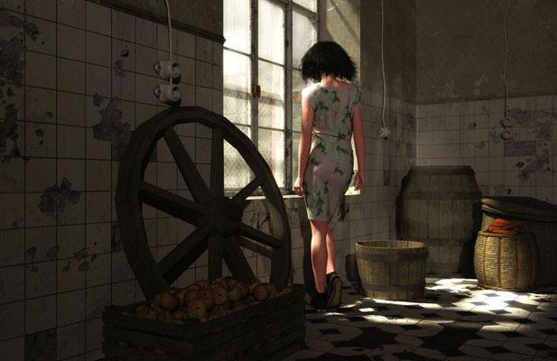 Verfallene Orte, Frau in verfallenem Raum,  lost spaces auf der Aauchener Kunstroute 2016