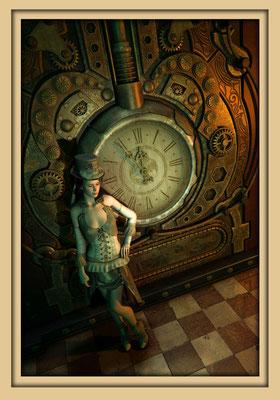 Viktorianische Kleidung, Steampunkuhr. Digitale Kunst von Marcus Löhrer auf der Aachener Kunstroute 2016 in der Galerie Frutti dell'Arte und in der Ausstelung Spektrum 2016 im der Aula Carolina