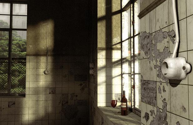 Fenster mit Wein, lost spaces auf der Aauchener Kunstroute 2016