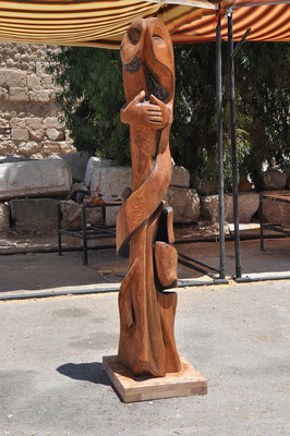 Skulptur Holz Stele 1. Künstler Ibrahim Alawad, Aachener Kunstroute 2019