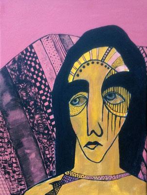 Layali Alawad, Acryl auf Leinwand, Portrait 2