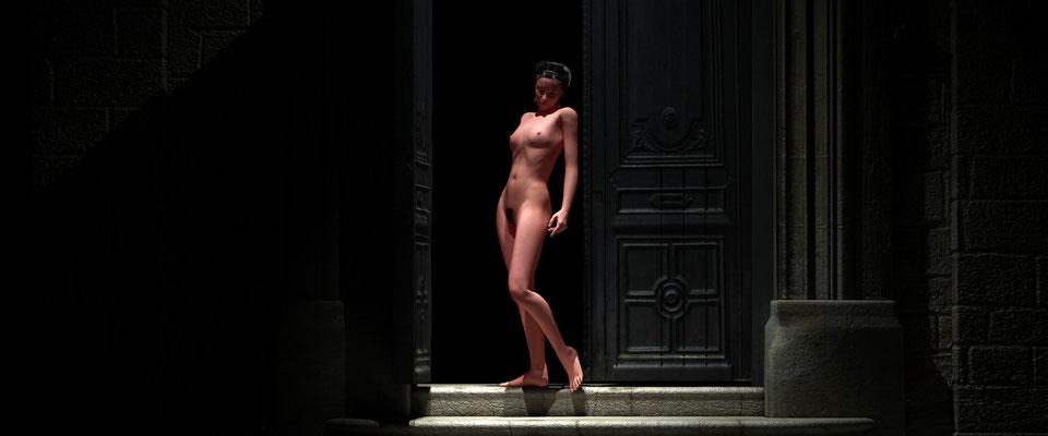 Stehender weiblicher Akt in altem Toreingang. Kunst von Marcus Löhrer auf der Aachener Kunstroute 2017 in der Galerie Frutti dell Arte. Auch in der Aula Carolina