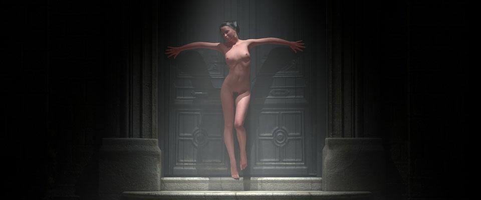 Stehender weiblicher Akt in altem, vernebeltem Toreingang, 1. Kunst von Marcus Löhrer auf der Aachener Kunstroute 2017 in der Galerie Frutti dell Arte. Auch in der Aula Carolina