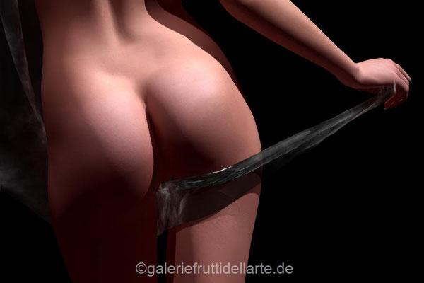 Kunst Aachen, Galerie Frutti dell'Arte, Akt mit Tuch, schöner Po 5. Aktbilder auf der Aachener Kunstroute 2017
