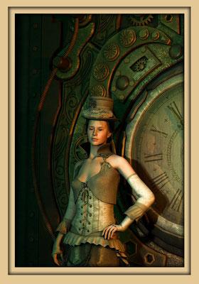 Frau vor Steampunkuhr. Digitale Kunst von Marcus Löhrer auf der Aachener Kunstroute 2016 in der Galerie Frutti dell'Arte und in der Ausstelung Spektrum 2016 im der Aula Carolina