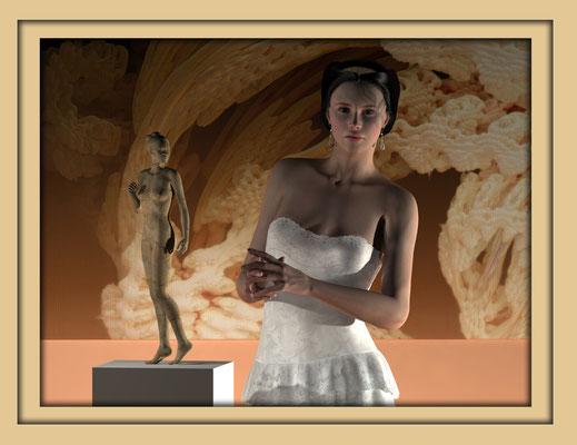Digitale Holzskulptur auf der Aachener Kunstroute 2016 in der Galerie Frutti dell'Arte, Station 16 in der Aula Carolina, presentiert vor Mandelbulb
