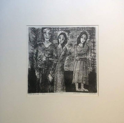 Layali Alawad, Litografie, drei Figuren 1