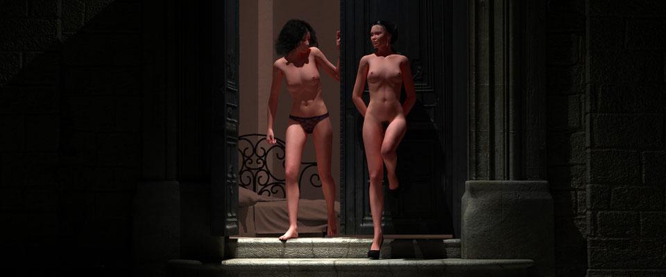 Weiblicher Akt, zweiFrauen in altem Toreingang, 5. Kunst von Marcus Löhrer auf der Aachener Kunstroute 2017 in der Galerie Frutti dell Arte. Auch in der Aula Carolina