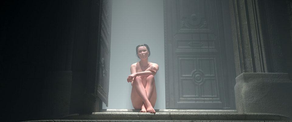 Sitzender weiblicher Akt in altem, vernebeltem Toreingang, 1. Kunst von Marcus Löhrer auf der Aachener Kunstroute 2017 in der Galerie Frutti dell Arte. Auch in der Aula Carolina