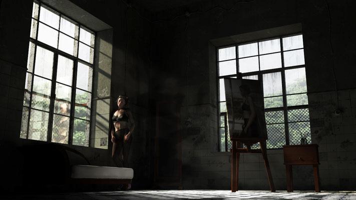 Atelier in verfallenem Haus, lost spaces auf der Aauchener Kunstroute 2016