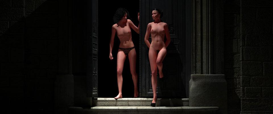 Weiblicher Akt, zweiFrauen in altem Toreingang, 3. Kunst von Kunst von Marcus Löhrer auf der Aachener Kunstroute 2017 in der Galerie Frutti dell Arte. Auch in der Aula Carolina