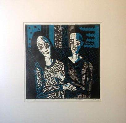 Layali Alawad, Linolschnitt, Familie 2